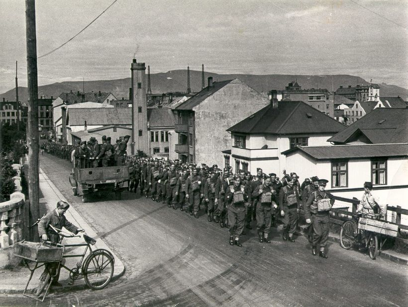British soldiers march in Iceland's capital city Reykjavík.