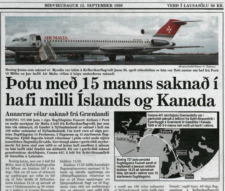 Baksíða Morgunblaðsins 12. september árið 1990.