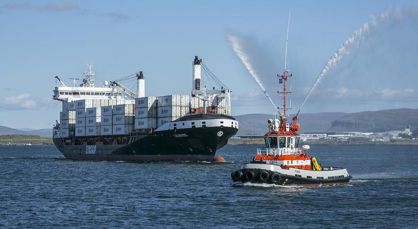 Lagarfoss, nýtt skip Eimskipafélags Íslands, kom til Reykjavíkur í fyrsta ...