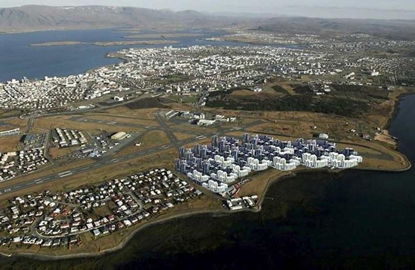 Loftmynd af byggðinni í Skerjafirði, þar sem byggingum á fyrirhugaðri ...