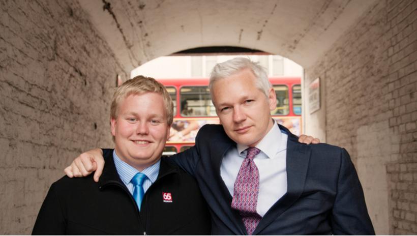 "Siggi ""The Hacker"" Þórðarson and Julian Assange in 2011. Þórðarson ..."
