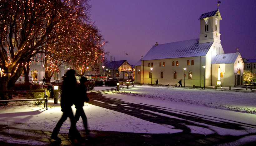 The Reykjavik Cathedral in winter snow. On the left you ...