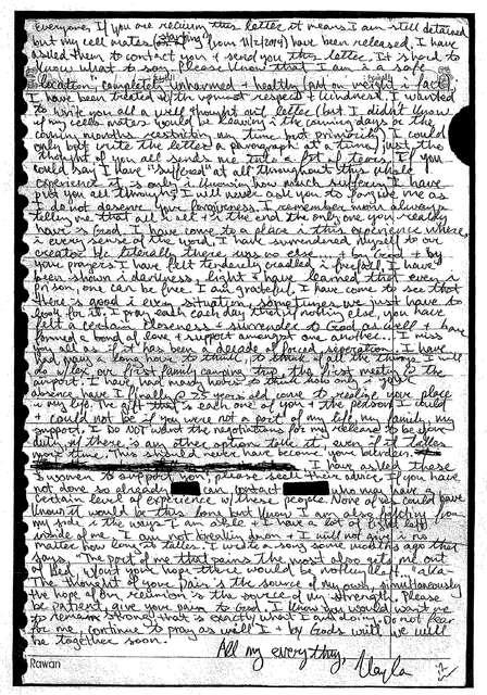 Bréfið sem Kayla Mueller sendi fjölskyldu sinni