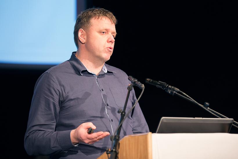 Bjarni Diðrik Sigurðsson, prófessor við Landbúnaðarháskóla Íslands, á opnum fundi ...