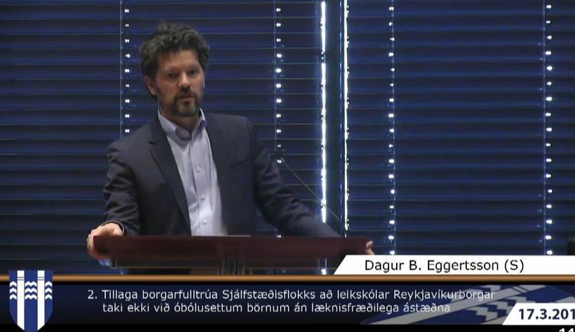 Dagur B. Eggertsson í pontu á borgarstjórnarfundi í dag.