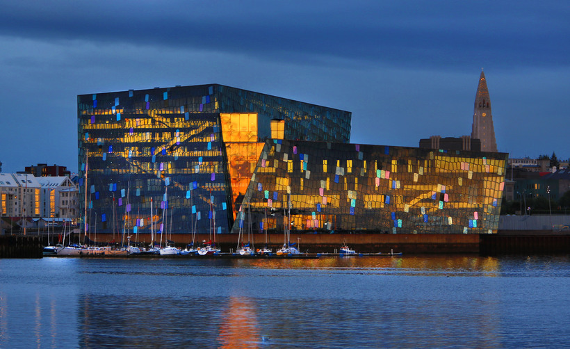 Harpa Concert Hall and Conference Centre by the harbour.