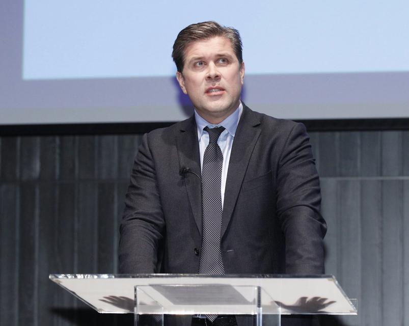 Bjarni Benediktsson á blaðamannafundinum í dag.