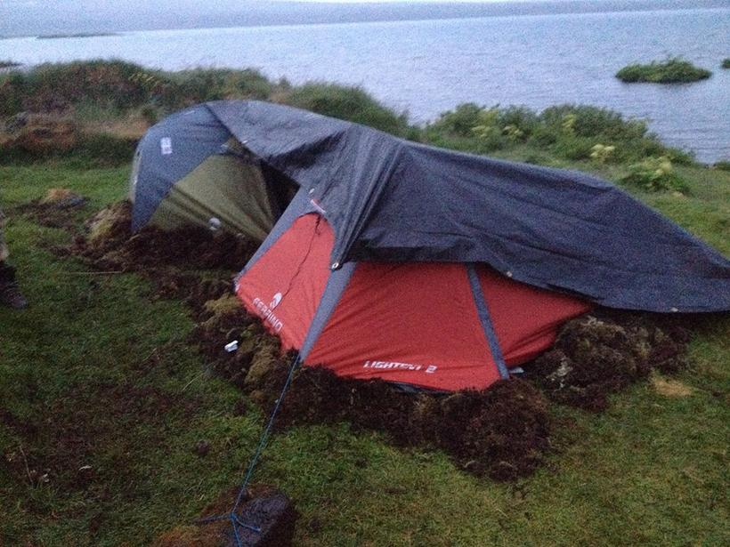 Tents insulated by ripped-up moss.