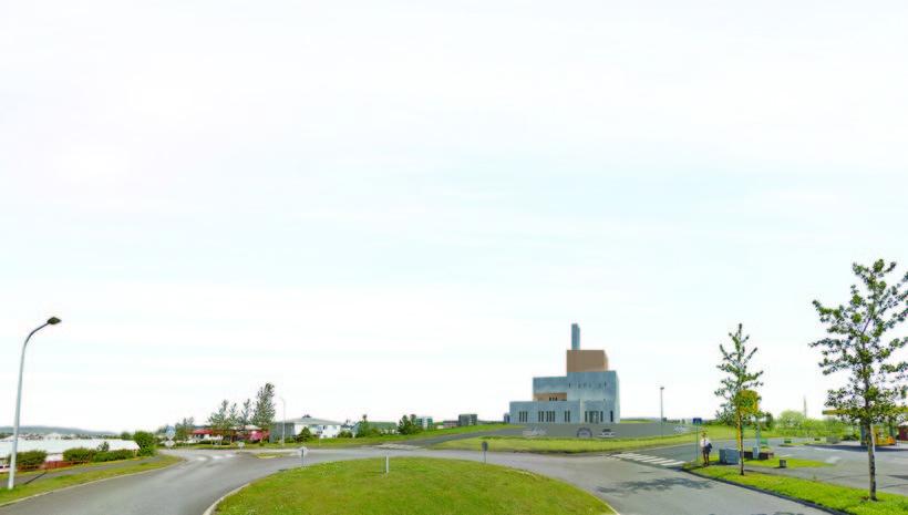 Teikning af tilbeiðsluhúsinu horft frá gatnamótum Nónsmára og Arnarsmára. Gera ...