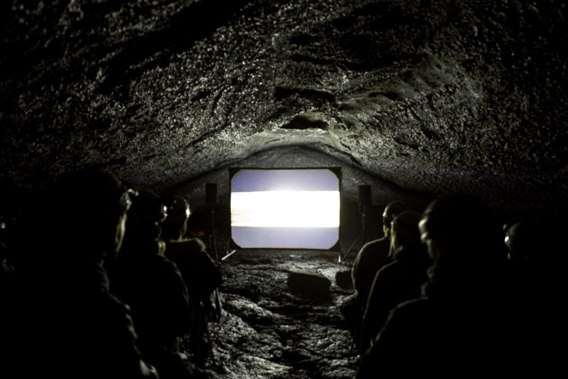 Guests hiked to the cave with Arctic Adventures to see ...