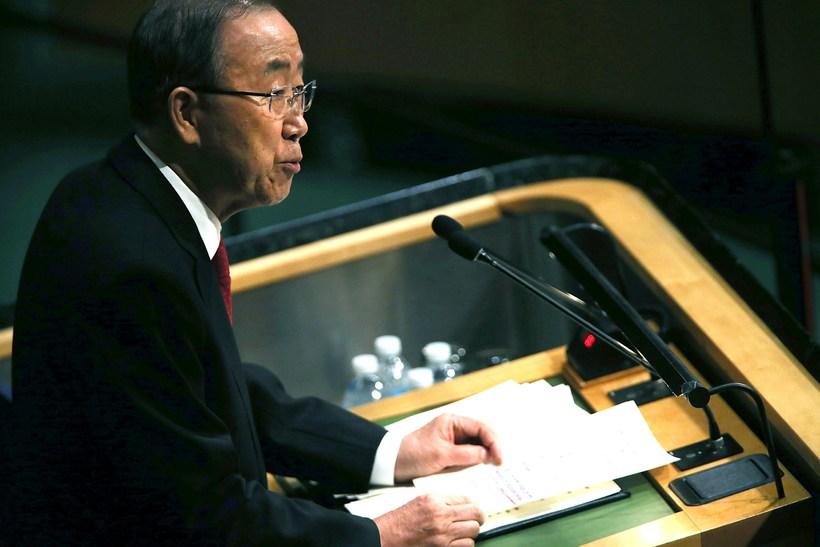 Ban Ki-moon sagði að samvinna fimm landa væri nauðsynleg til ...