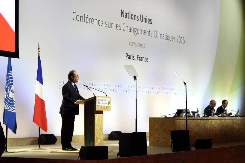 The French President delivering a speech on the first day ...