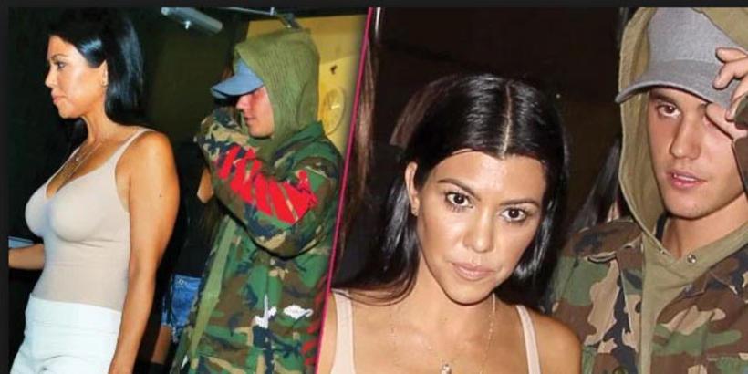 Justin Bieber og Kourtney Kardashian sáust yfirgefa gleðskap í sameiningu ...