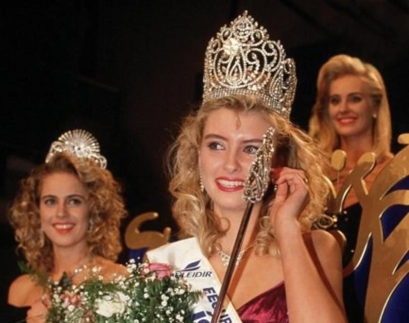 Pétursdóttir winning Miss World in 1988.