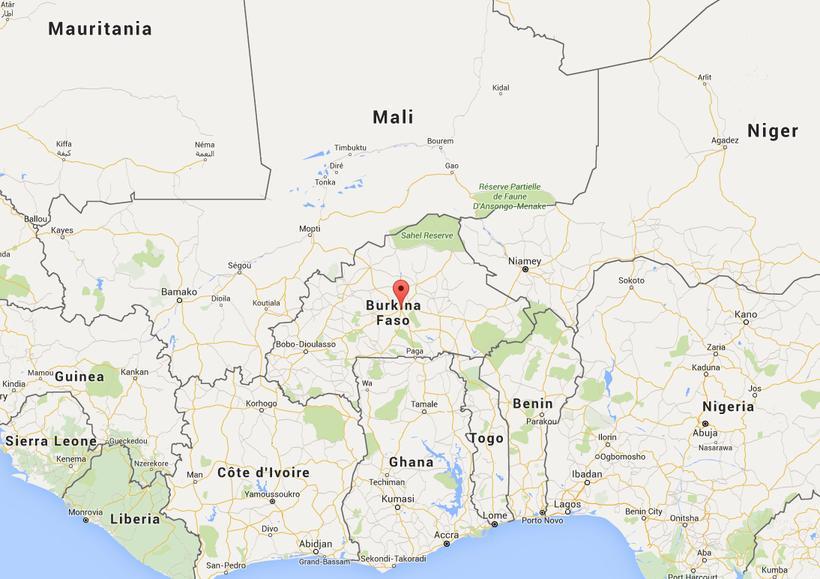 Rauða merkið sýnir borgina Ouagadougou.
