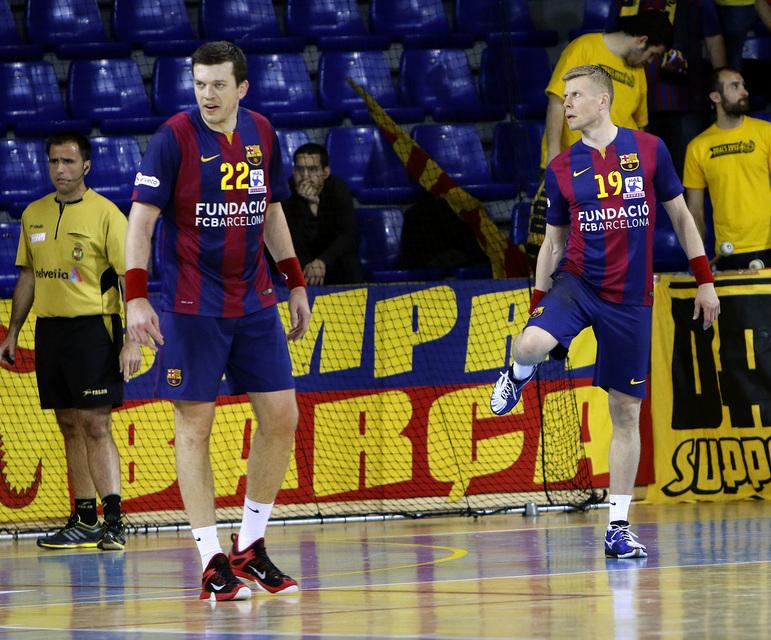 Siarhei Rutenka og Guðjón Valur Sigurðsson í búningi Barcelona.
