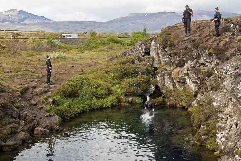 Vinsælast er að kafa í morgunsárið á sumrin.