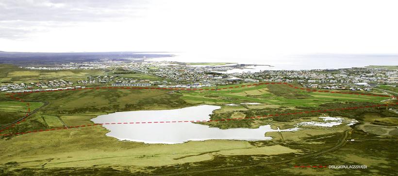 Setbergslandið í Garðabæ er hér næst á myndinni.