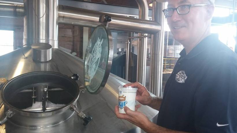 Phil Markowski, the brewer of Two Roads, with a can ...