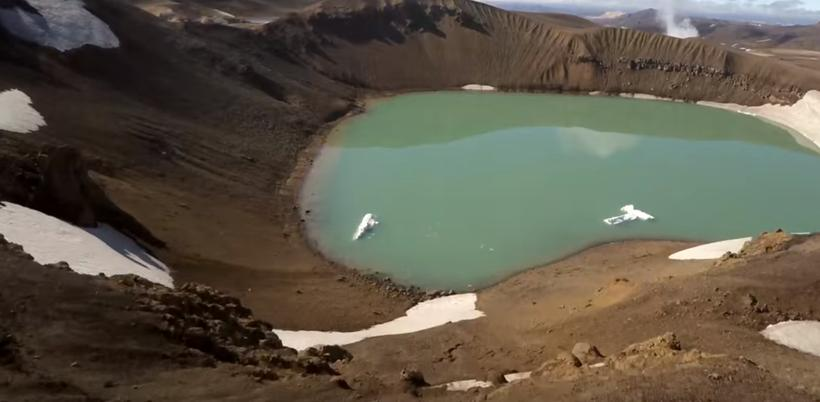 The crater Víti in the highlands captured by The Drone ...