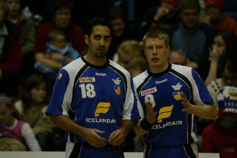 Jaliesky Garcia og Guðjón Valur Sigurðsson í landsleik fyrir rúmum ...