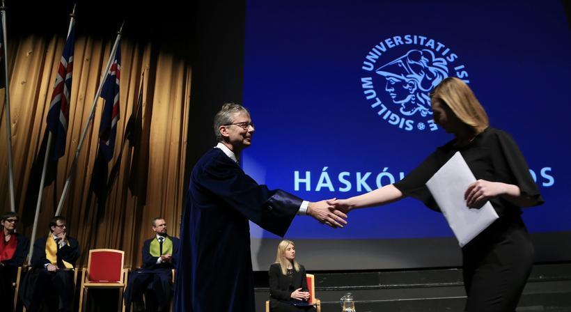 Jón Atli Benediktsson, rektor Háskóla Íslands, við brautskráninguna í dag.