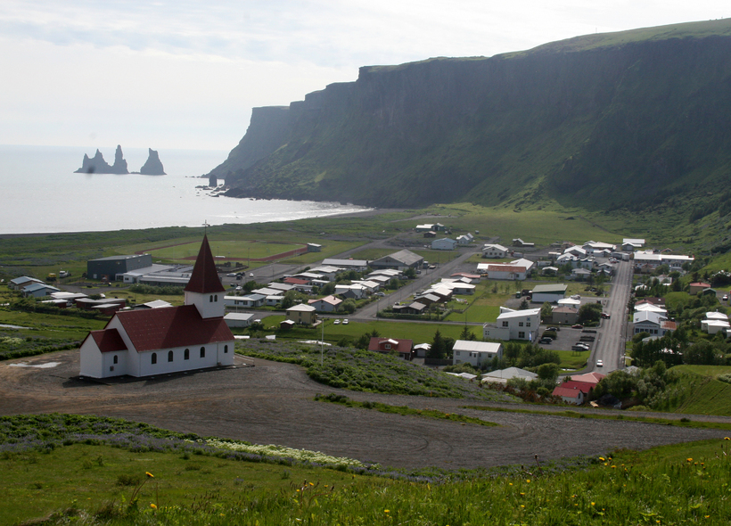 The beautiful South Iceland town of Vík - pronounced 'veek' ...