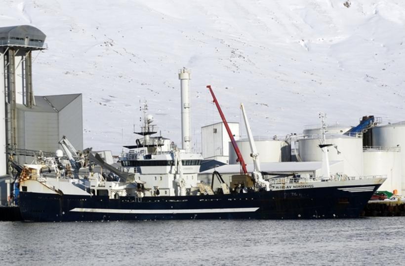Norska skipið Norderveg að landa kolmunna í Neskaupstað.