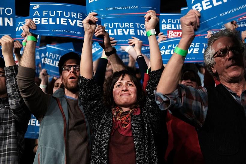 Stuðningsmenn Bernie Sanders í heimaríki hans, Vermont.