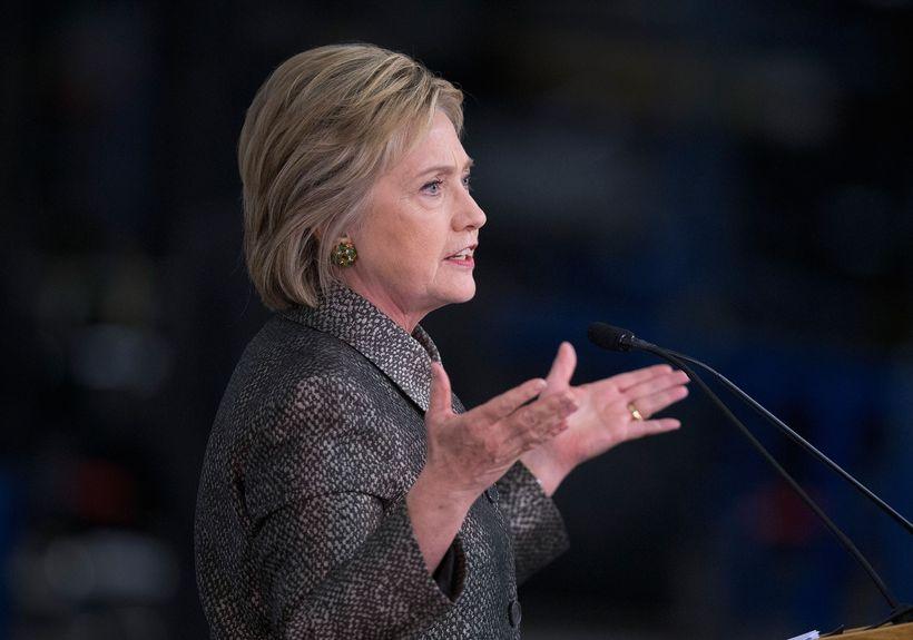 Hillary Clinton ræðir við kjósendur í Detroit, Michigan þar sem ...