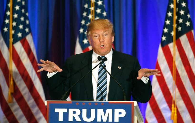 Donald Trump á blaðamannafundi í Flórída eftir kosningarnar í gær.