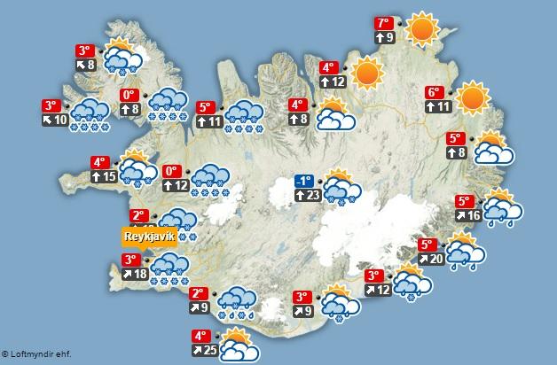 Veðurspáin klukkan 12 á hádegi í dag.