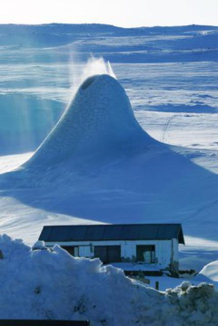 The ice formation is visible from afar.
