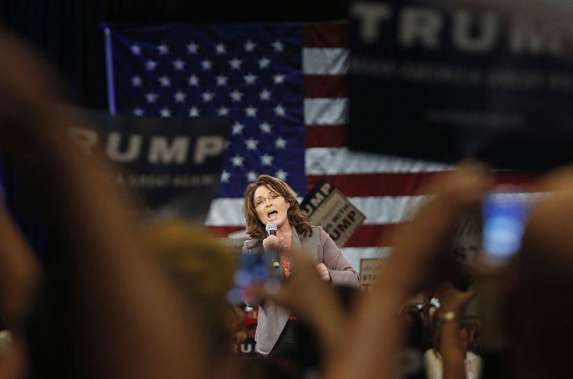 Sarah Palin á fundinum í dag.