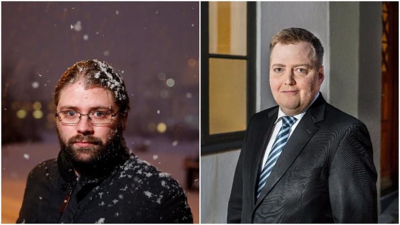 Helgi Hrafn Gunnarsson, þingmaður Pírata og Sigmundur Davíð Gunnlaugsson, forsætisráðherra.