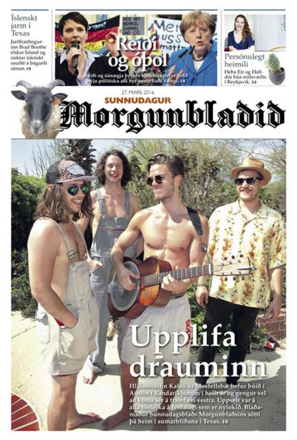 Forsíða Sunnudagsblaðs Morgunblaðsins.