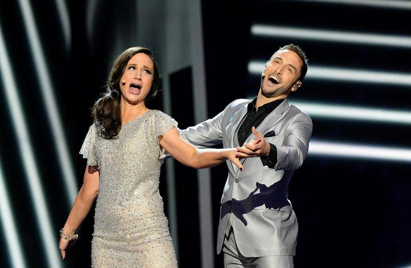 This year's Swedish hosts, Petra Mede and Måns Zelmerlöw.