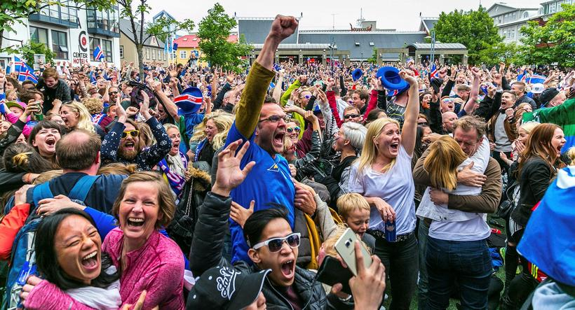 The crowd erupted when Iceland secured victory over Austria with ...