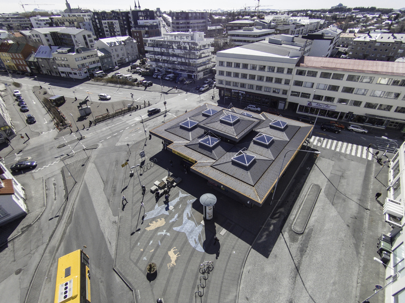An aerial photo of the Hlemmur food halls, located in ...