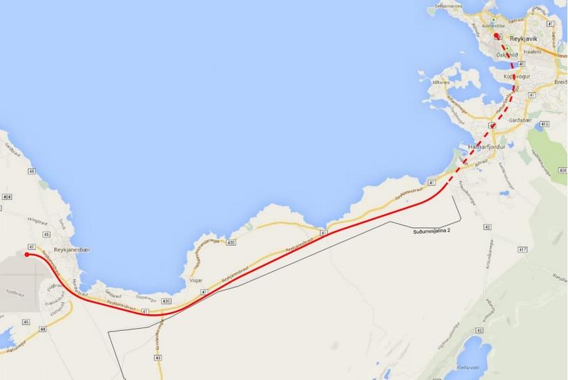 Leiðin er 49 km löng.
