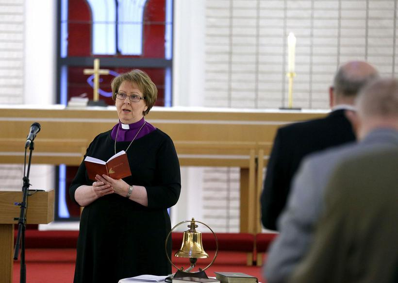 Agnes Sigurðardóttir, biskup Íslands, ávarpaði kirkjuþingið í dag.