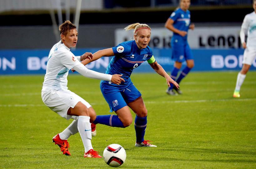 Margrét Lára Viðarsdóttir in action.