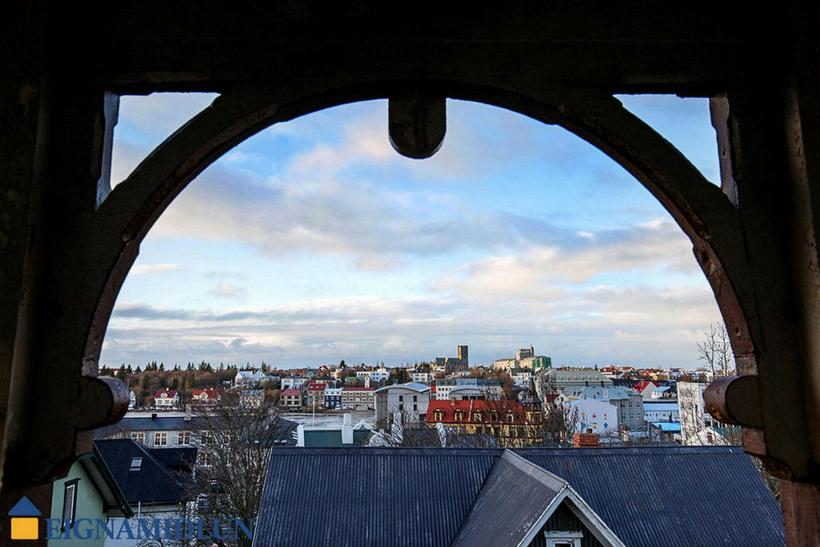 The view fromt he balcony over Reykjavik.