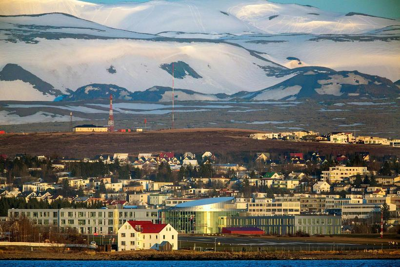 Bláfjöll, the blue mountains, looming behind the University of Reykjavik ...