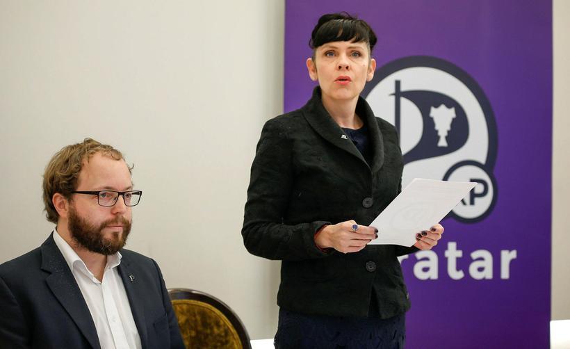 Smári McCarthy og Birgitta Jónsdóttir, þingmenn Pírata.