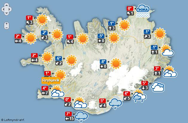 Spákort fyrir þriðjudaginn 6. desember.