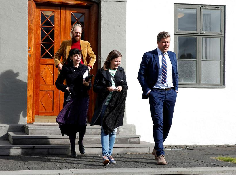 Leaders and representatives of four of Iceland's parties.