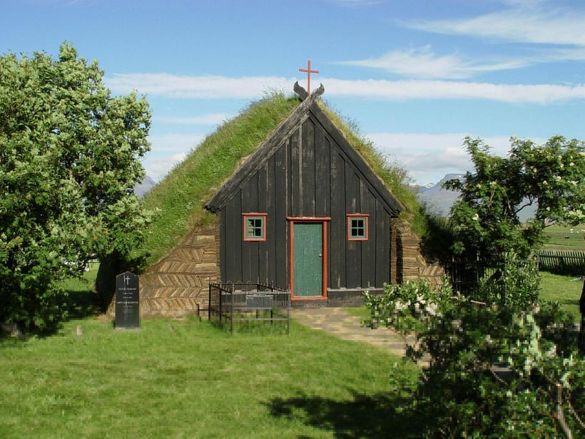 Víðimýrarkirkja is one of the oldest turf churches in Iceland.