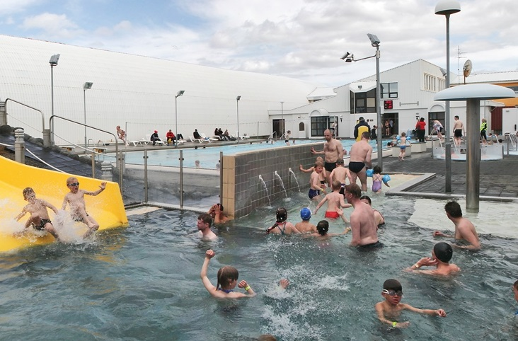 Jaðarsbakkalaug swimming pool in Akranes, South West Iceland.