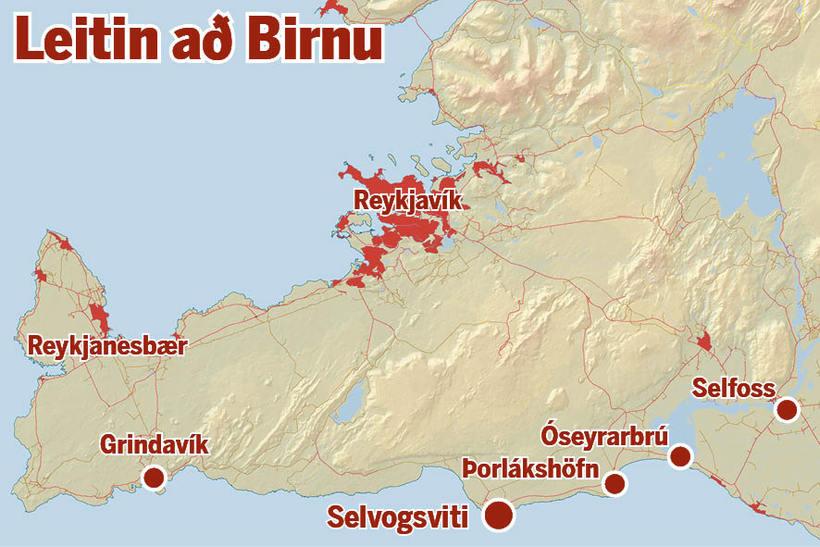Leitin að Birnu teygði sig um allt suðvesturhorn landsins.